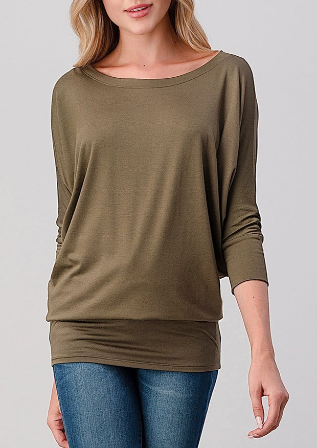 Natural Vibe Modal Round Neck Top (Olive)