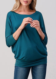 Natural Vibe Modal Round Neck Top (Teal)