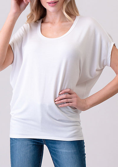 Natural Vibe Dolman Tee (White)
