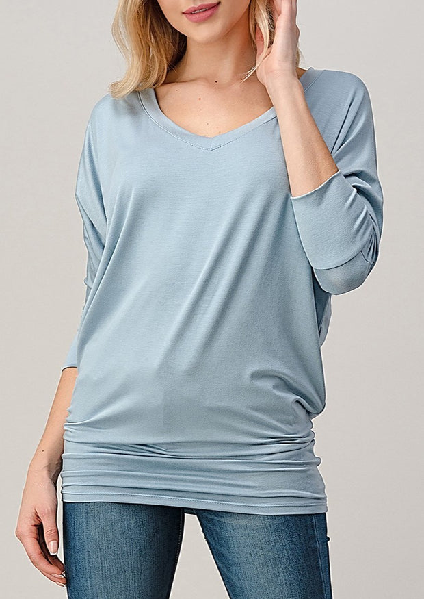 Natural Vibe Modal V Neck Top (Blue Fog)