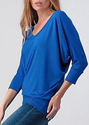 Natural Vibe Modal V Neck Top (Classic Blue)
