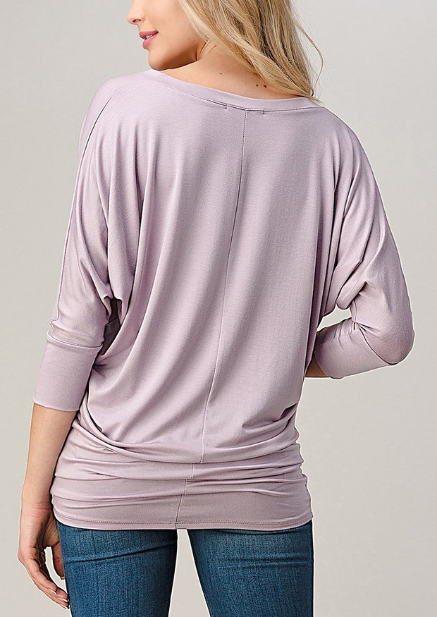 Natural Vibe Modal V Neck Top (Lilac)