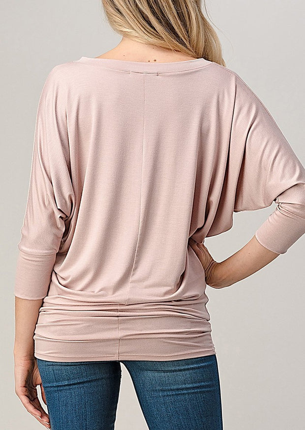 Natural Vibe Modal V Neck Top (Mineral Pink)
