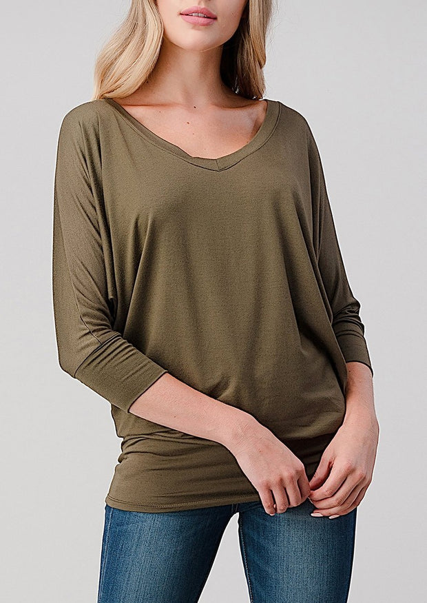 Natural Vibe Modal V Neck Top (Dark Olive)