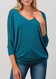 Natural Vibe Modal V Neck Top (Teal Green)