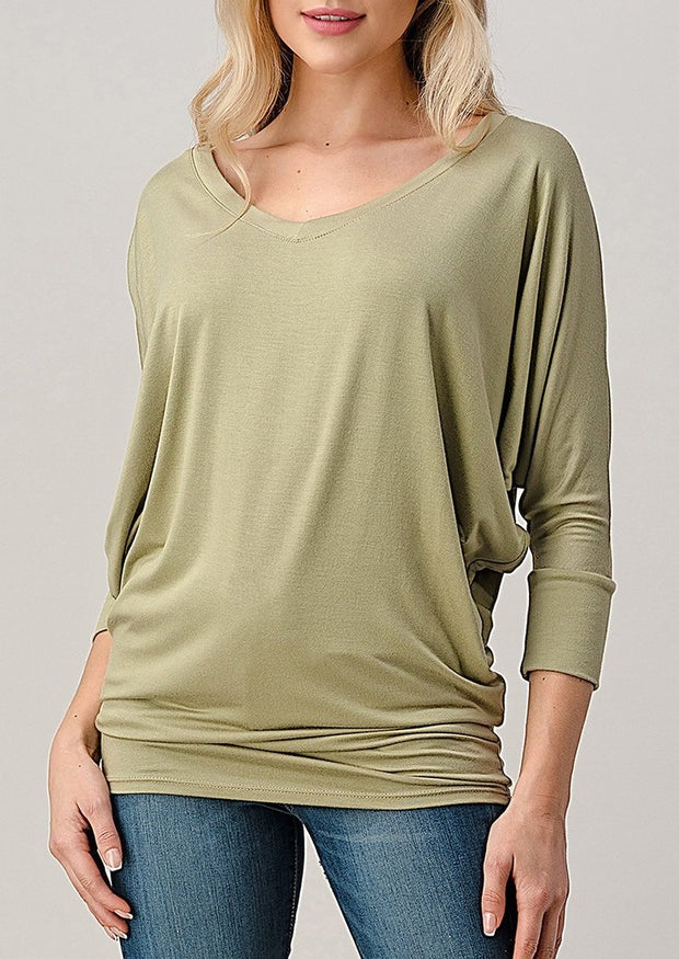 Natural Vibe Modal V Neck Top (Vintage Sage)