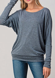 Natural Vibe Knit Long Sleeve (Slate Blue)