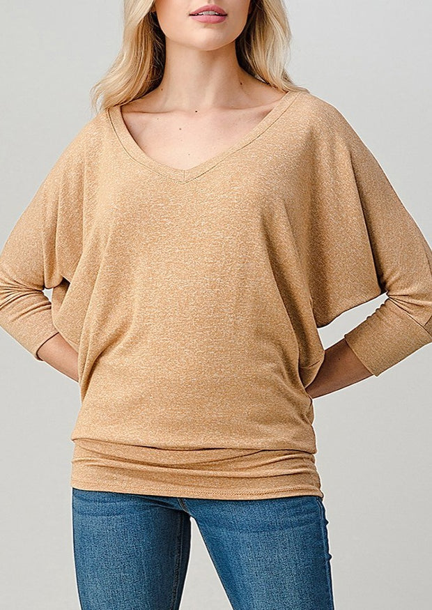 Natural Vibe Knit V Top (Honey)