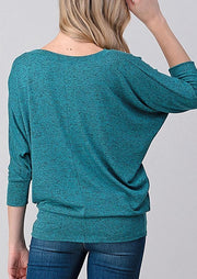 Natural Vibe Knit V Top (Blue Grass)