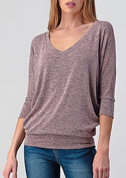 Natural Vibe Knit V Top (Coral Cloud)
