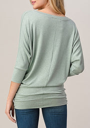 Natural Vibe Knit V Top (Mint)