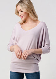Natural Vibe Knit V Top (Lilac)