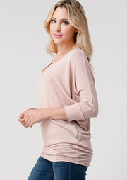 Natural Vibe Knit V Top (Mineral Pink)