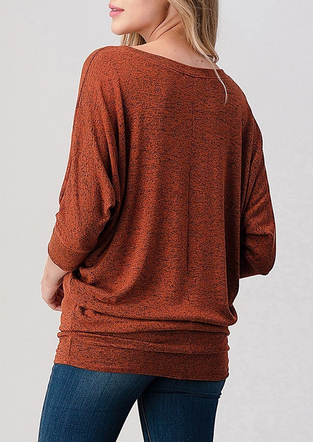 Natural Vibe Knit V Top (Rust)
