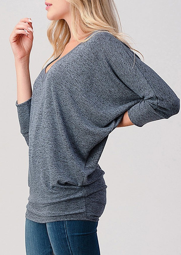 Natural Vibe Knit V Top (Slate Blue)