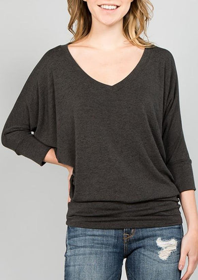 Natural Vibe Knit V Top (Dark Charcoal)