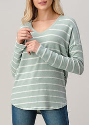 Natural Vibe Brushed V Sweater (Striped Mint)