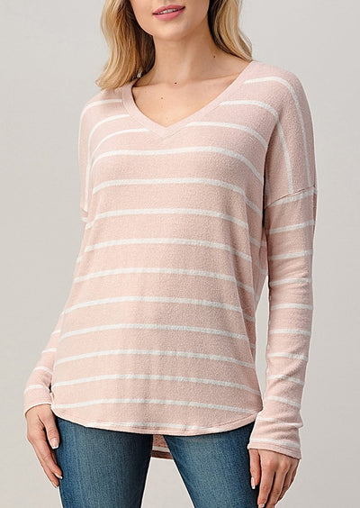 Natural Vibe Brushed V Sweater (Striped Baby Pink)