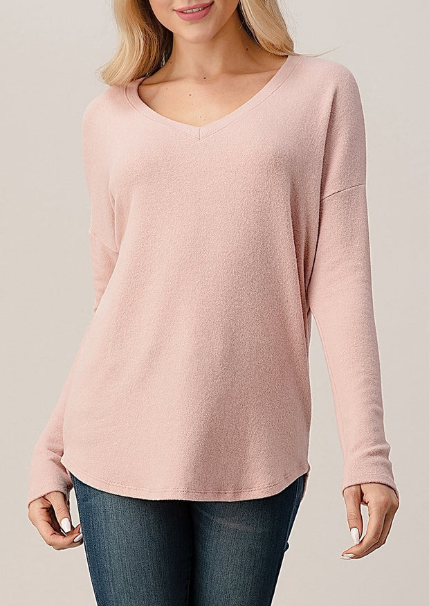 Natural Vibe Brushed V Sweater (Baby Pink)