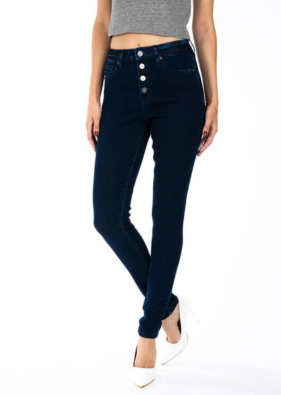 Kancan Blue Button Skinny Jean