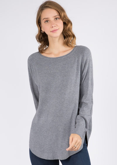 Dreamy Boatneck Sweater (Grey Blue)
