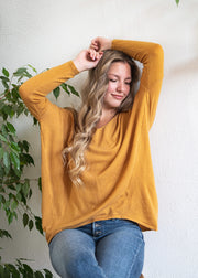 My Cozy Double V Sweater (Mustard)