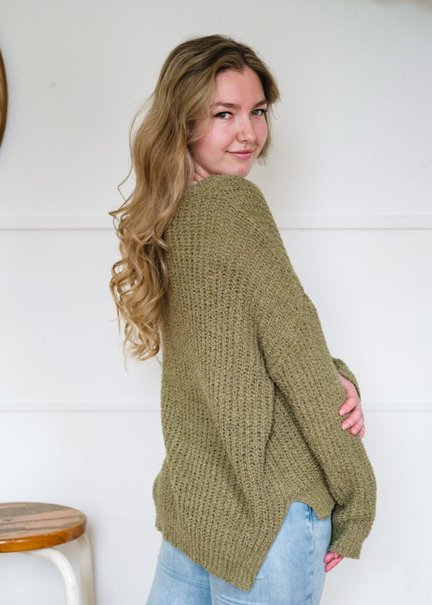 My Cozy Lightweight Teddy Sweater (Moss)