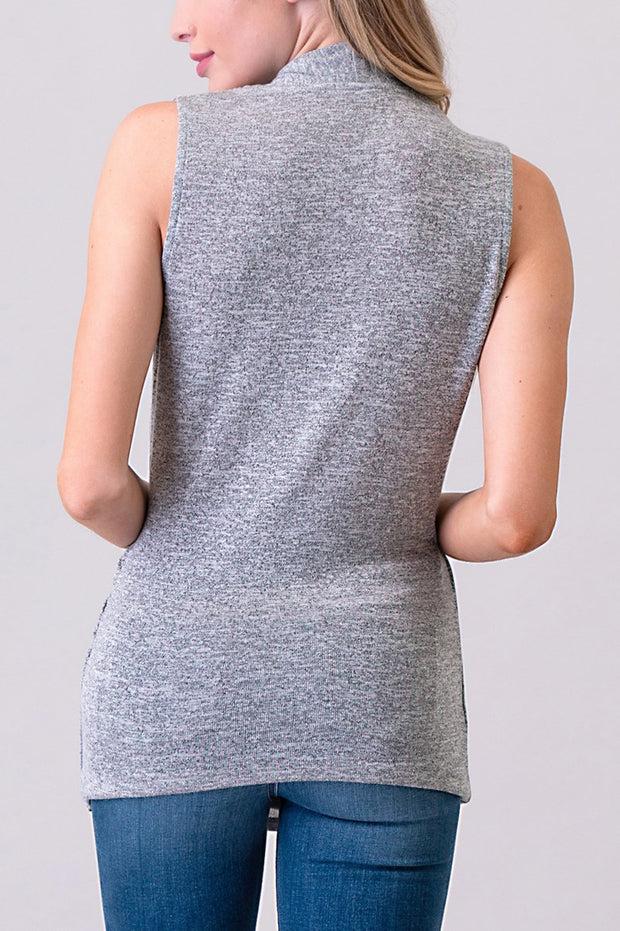 Natural Vibe Wrap Front Top (Heather Grey)