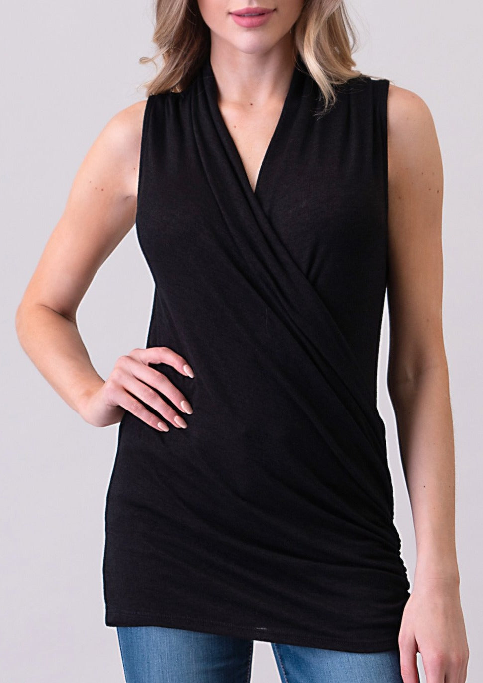 Natural Life Wrap Front Top (Black)
