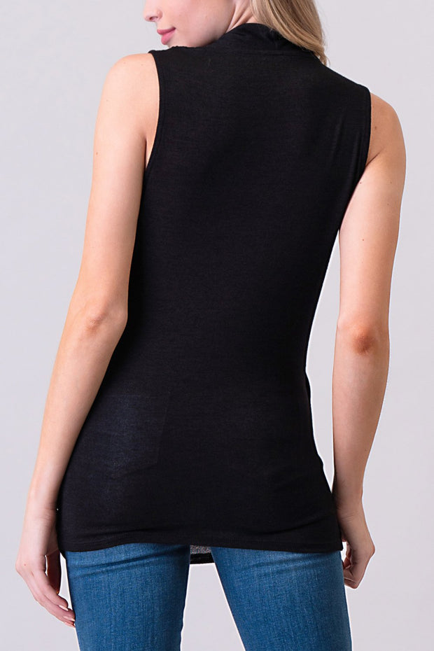 Natural Vibe Wrap Front Top (Black)