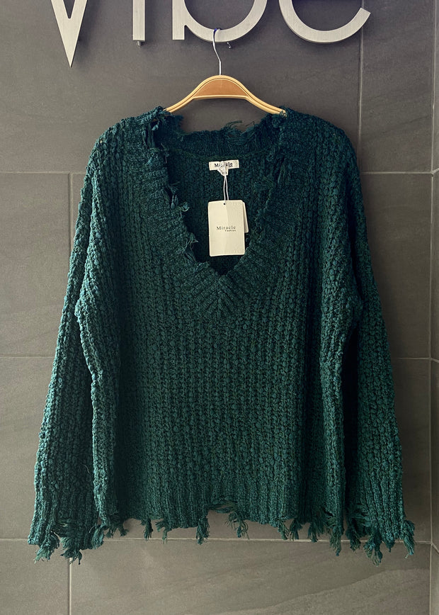 My Cozy Distressed Sweater (Forest Green)