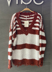 My Cozy Striped Sweater (Rust/White)