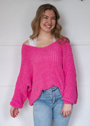 My Cozy Slouchy Knit Sweater (Hot Pink)