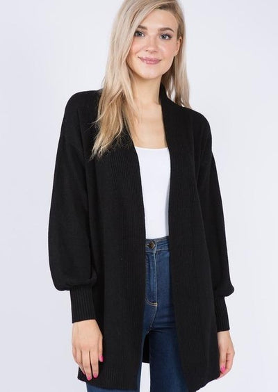 Dreamy Balloon Sleeve Cardigan (Black)