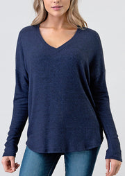Natural Vibe Brushed V Sweater (Navy)