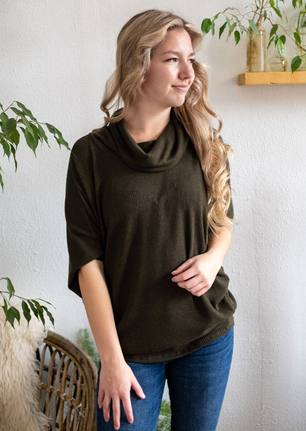 Natural Vibe Cowl Neck Sweater (Olive)