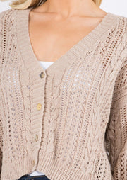 Little Knit Cropped Cardi (Taupe)