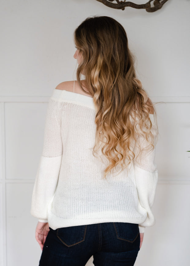 My Cozy Off The Shoulder Sweater (Ivory)