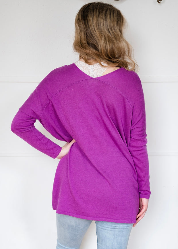 My Cozy Double V Sweater (Purple)