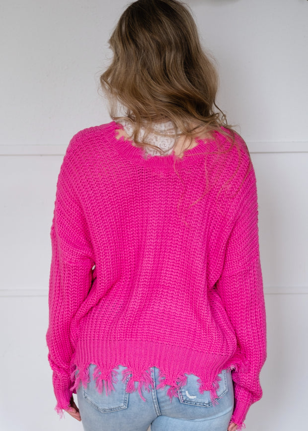 My Cozy Distressed Sweater (Pink)
