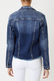 Kancan Distressed Jean Jacket (Dark Wash)
