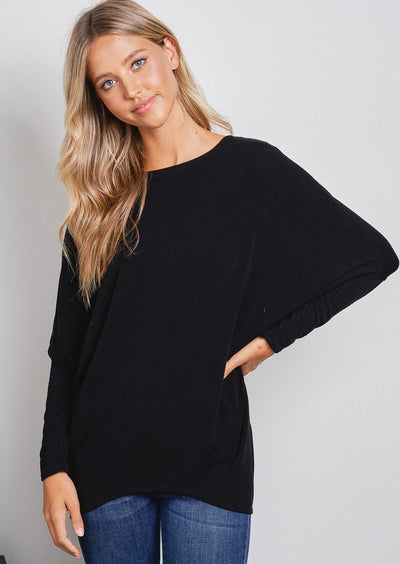 Jolie French Terry All Day Slouch Top (Black)