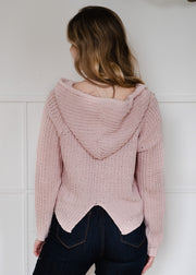 My Cozy Knit Pullover Hoodie (Blush)