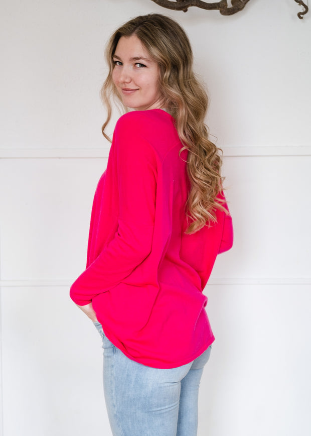 My Cozy Double V Sweater (Fuchsia)
