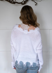 My Cozy Distressed Sweater (White)