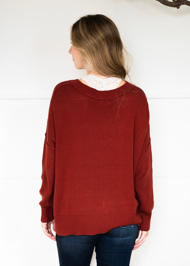My Cozy Stay At Home Sweater (Red Bean)