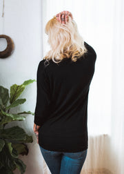 Natural Vibe Knit V Top (Black)