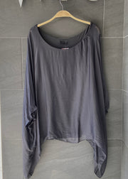 Jackie Silk Blouse (Solid Charcoal)