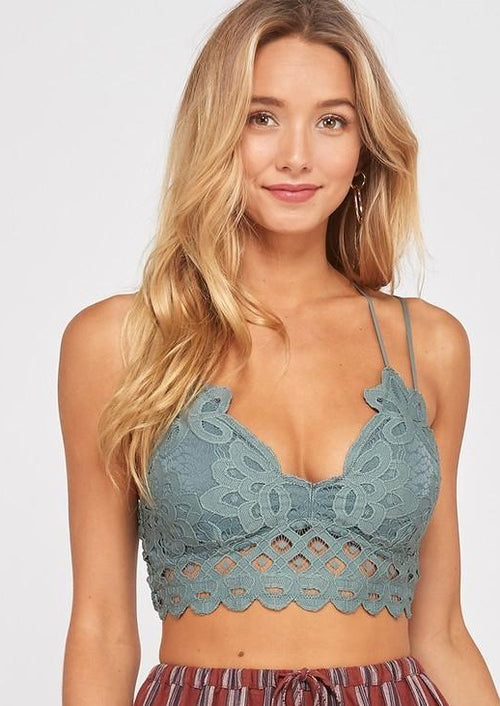 Wishlist Scalloped Lace Bralette (T. Grey)