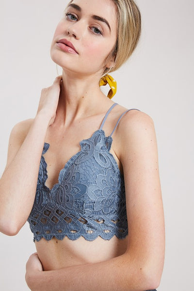 Wishlist Scalloped Lace Bralette (M. Blue)